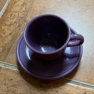 Vintage Fiestaware Cup and Saucer, Purple
